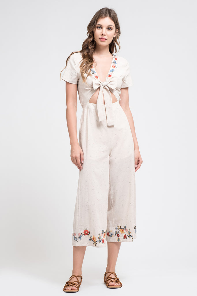 EMBROIDERED TIE FRONT JUMPSUIT