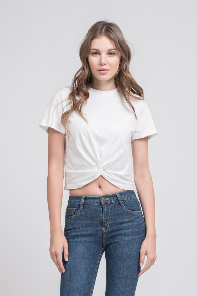 TWISTED FRONT SHORT SLEEVE CROP TEE