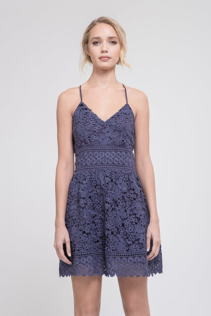 OVERLAP TOP FIT AND FLARE DRESS