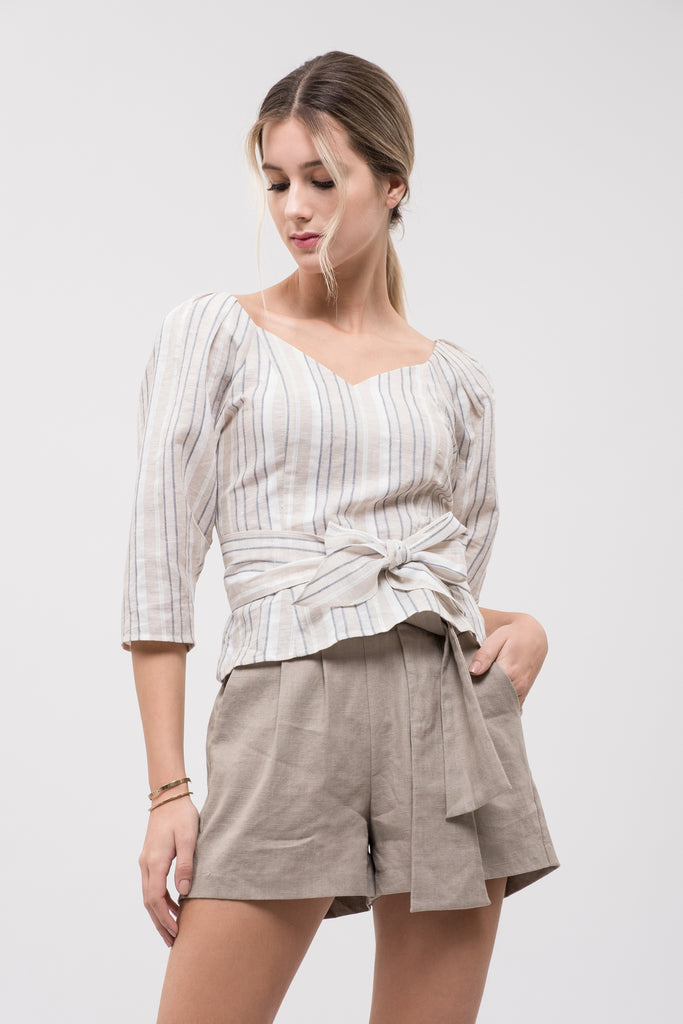 PLEATED SLEEVE TIE WAIST TOP