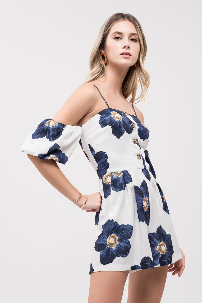 5d24ff714e76 PRINTED COLD SHOULDER ROMPER ...