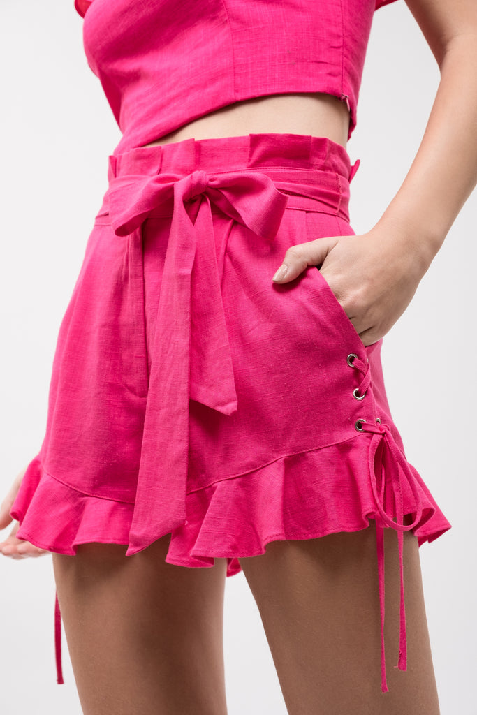 RUFFLED LACE UP SHORTS
