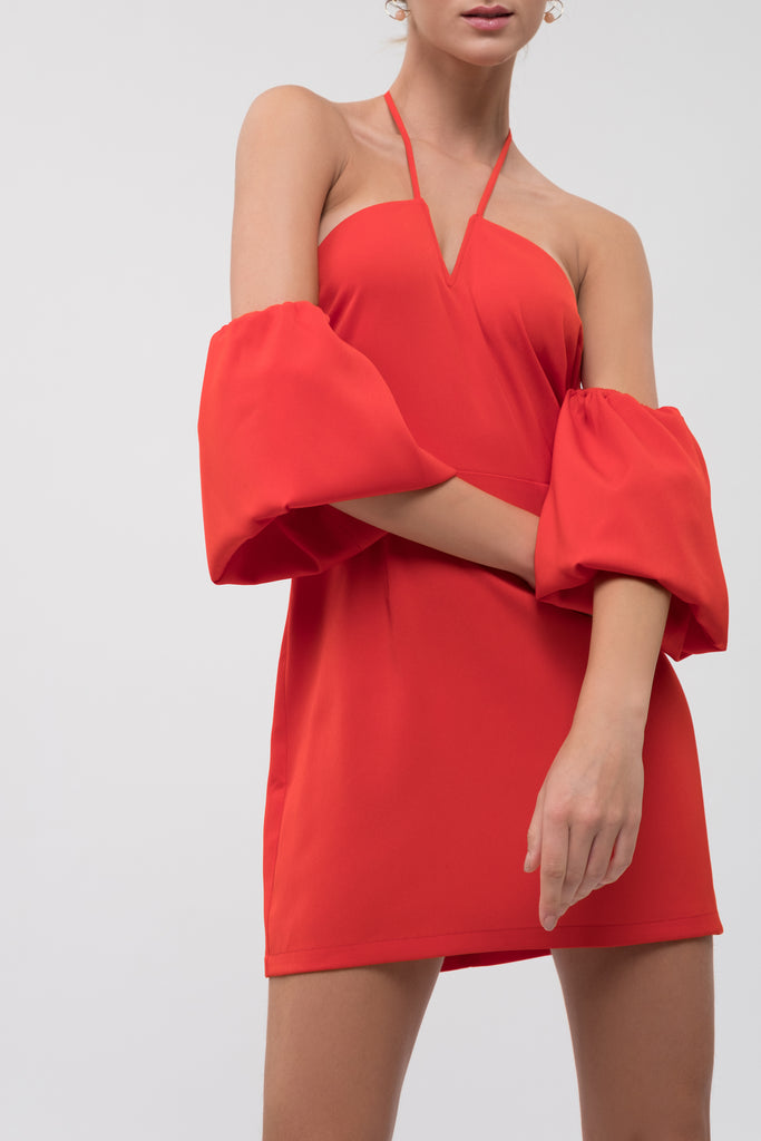 COLD SHOULDER PUFF SLEEVE DRESS WITH HALTER NECK