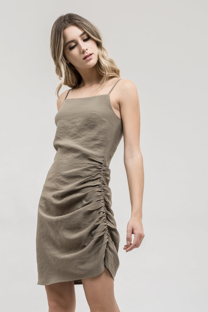 ASYMMETRICAL RUCHED DRESS
