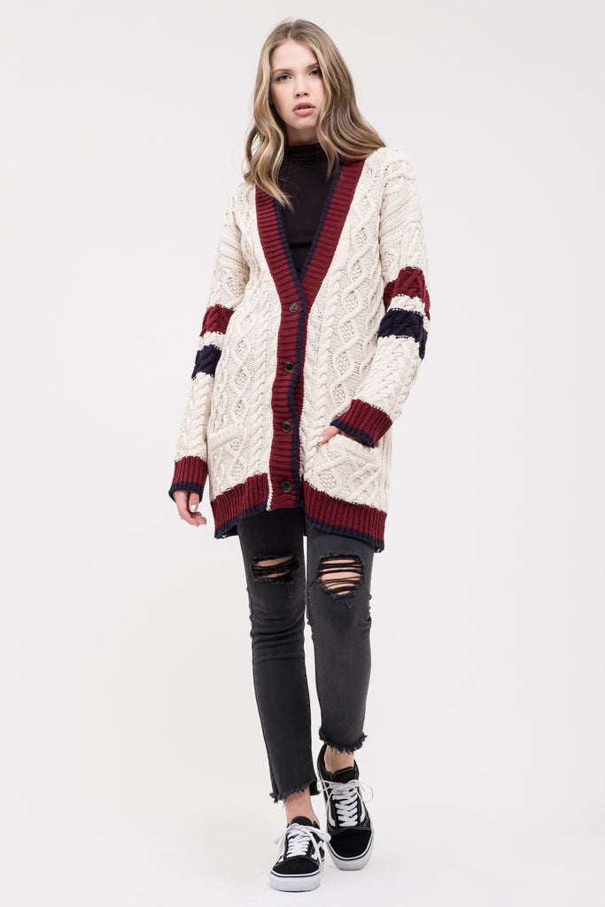 VARISTY STRIPE CABLE KNIT CARDIGAN