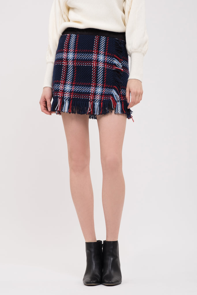 FRINGED PLAID MINI SKIRT