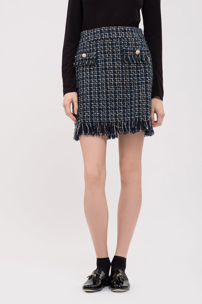 TWEED FRINGED MINI SKIRT