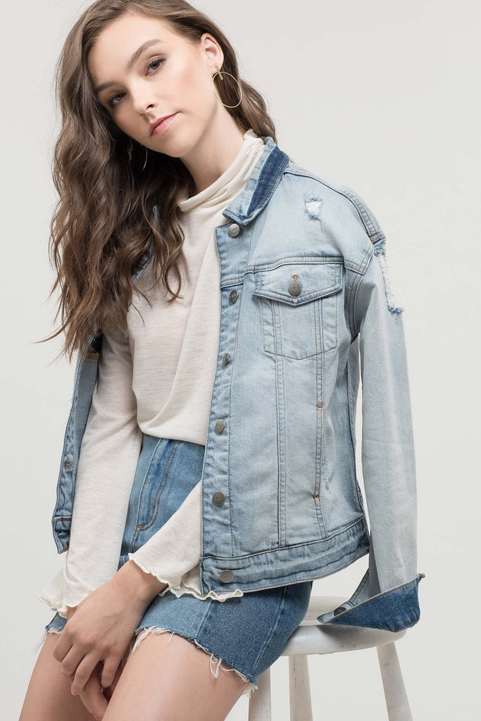 EVIDNT LIGHT WASH DESTROYED DENIM JACKET