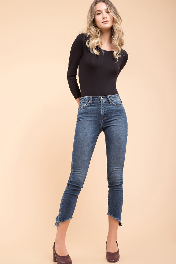 EVIDNT INSIDE CROPPED FRAYED SKINNY JEANS