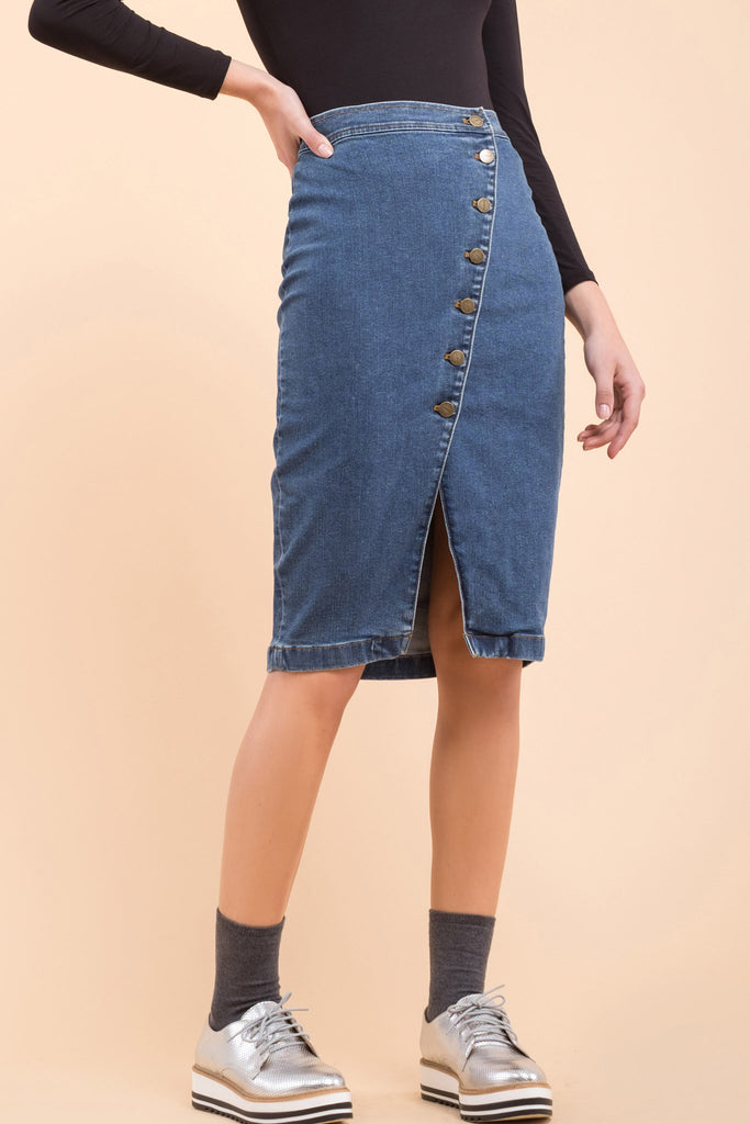 EVIDNT BUTTON DETAILED WRAP DENIM SKIRT
