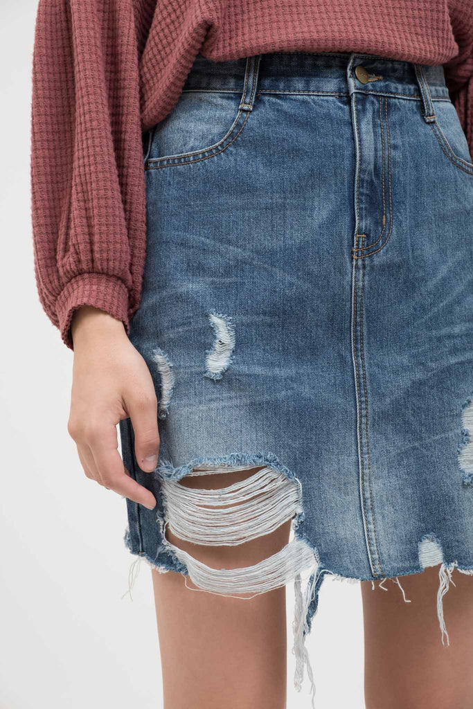 EVIDNT DESTROYED STRAIGHT MIDI DENIM SKIRT