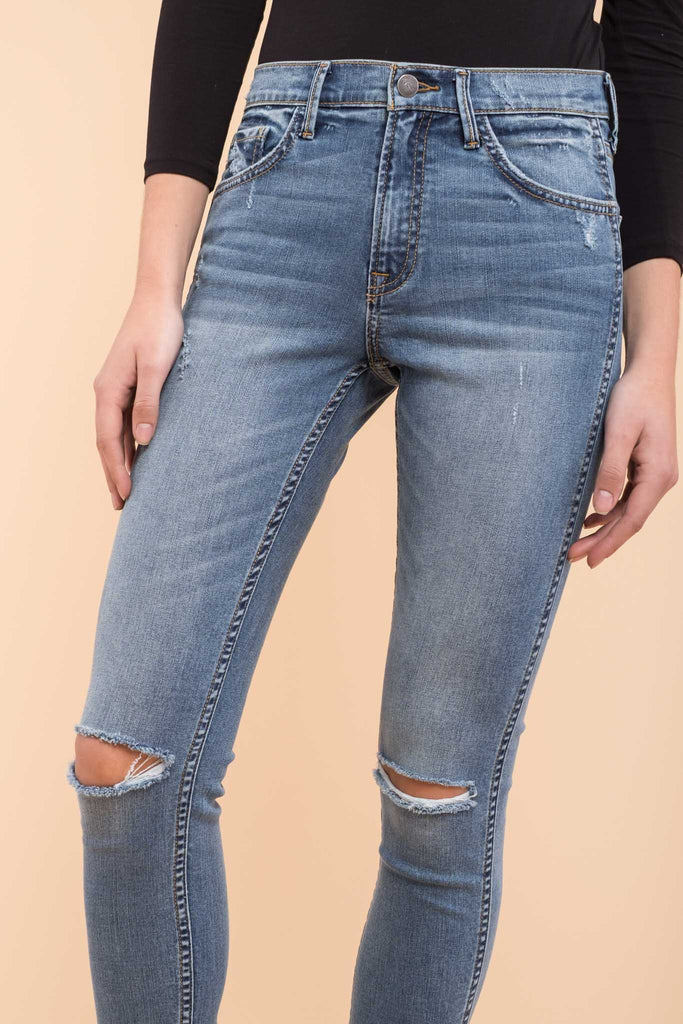 EVIDNT KNEE DESTROYED SKINNY ANKLE JEANS
