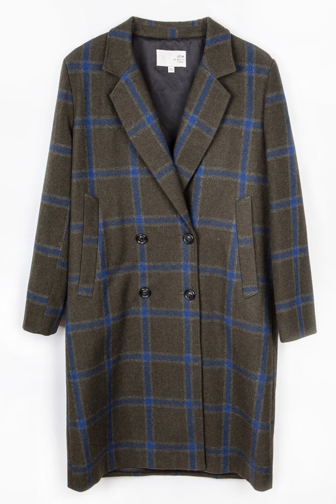 TARTAN PLAID DOUBLE BREASTED COAT