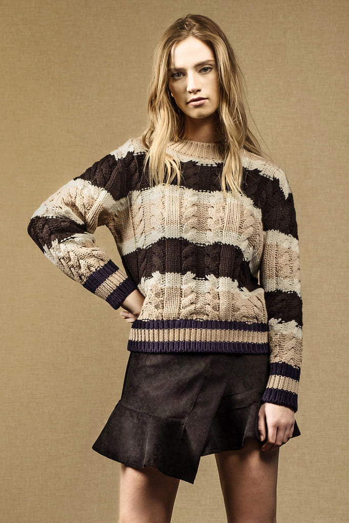 STRIPED LONG SLEEVE CABLE KNIT SWEATER