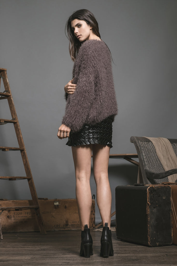 FUZZY LONG SLEEVE CARDIGAN