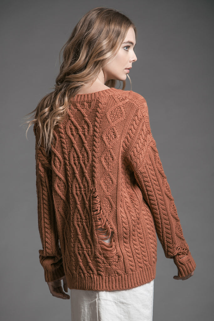 DISTRESSED LONG SLEEVE CABLE KNIT SWEATER