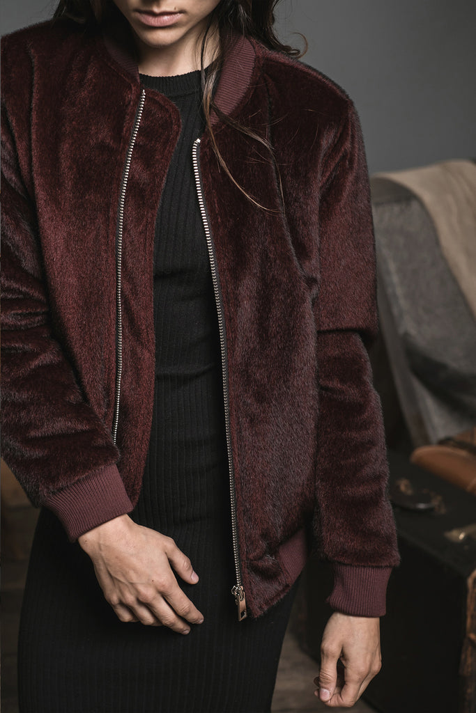 BURGUNDY PONY HAIR BOMBER