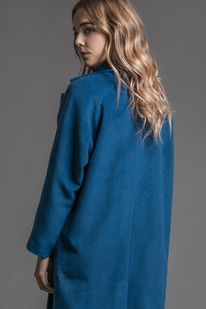 LONG COBALT COAT WITH BLACK BUTTON DETAILS