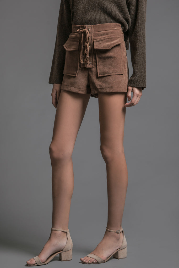 SUEDE TIE SHORTS WITH TWO FRONT FLAP POCKETS
