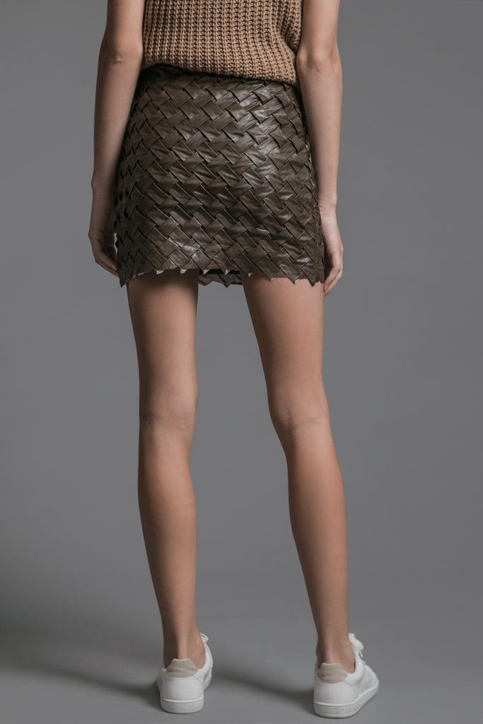 LEATHER WOVEN MINI SKIRT
