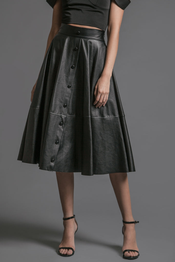 PLEATED LEATHER MIDI SKIRT WITH CENTER FRONT BUTTON DETAILS