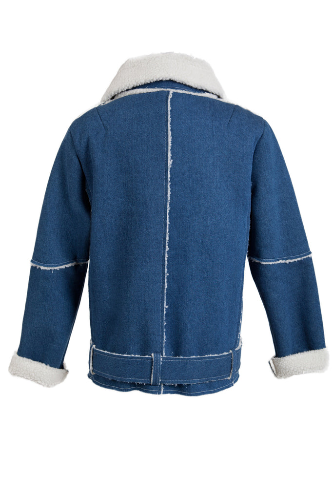 SHERPA LINED DENIM AVIATOR JACKET