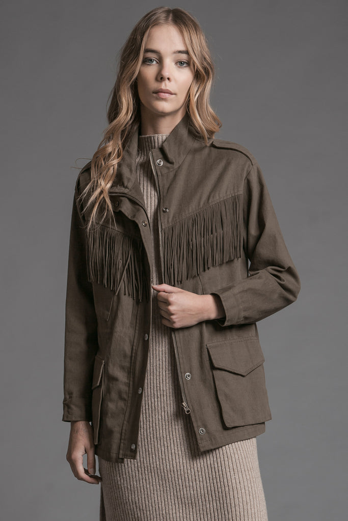 FRINGE TRIM SAFARI JACKET