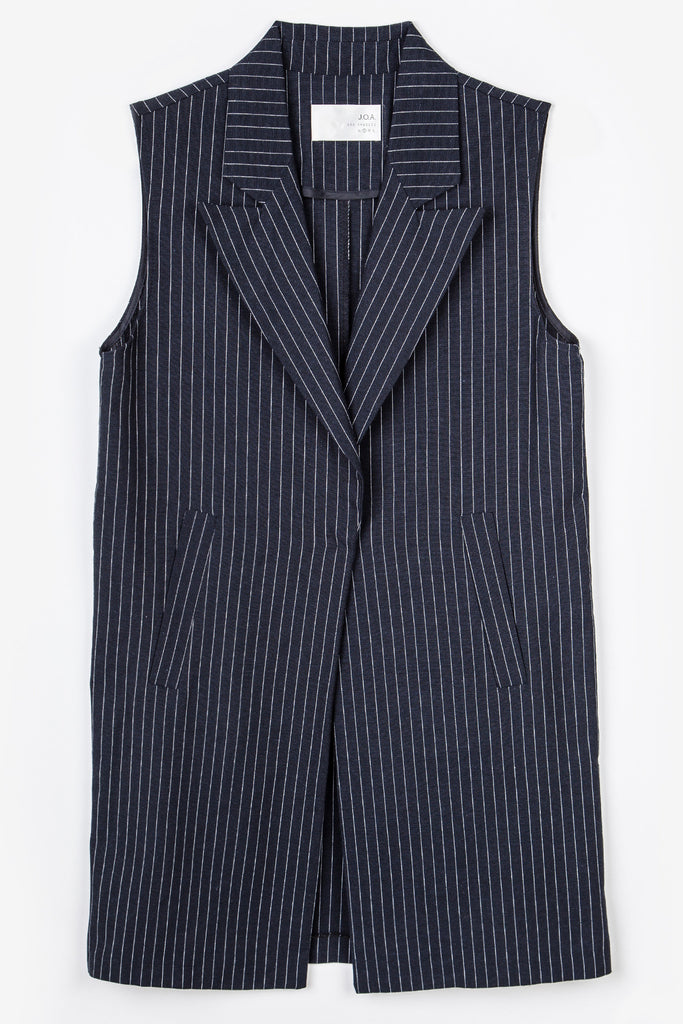 STRIPED VEST WITH COLLAR