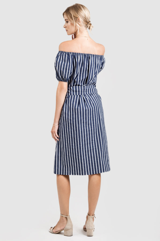 STRIPE OFF THE SHOULDER SHORT SLEEVE DRESS