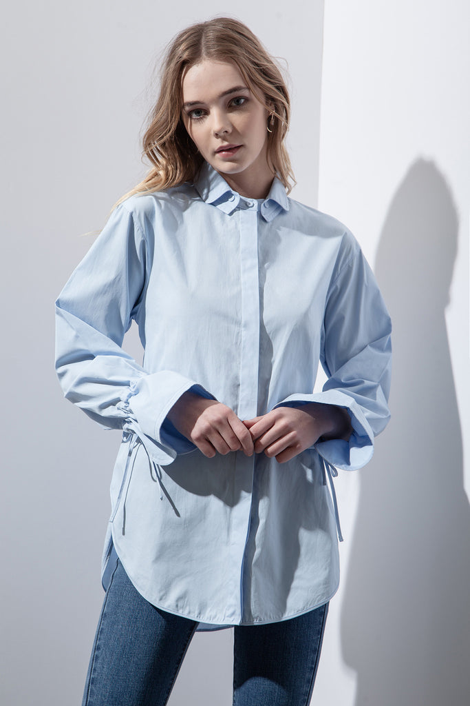 BLUE TIE BACK MANDARIN COLLAR SHIRT