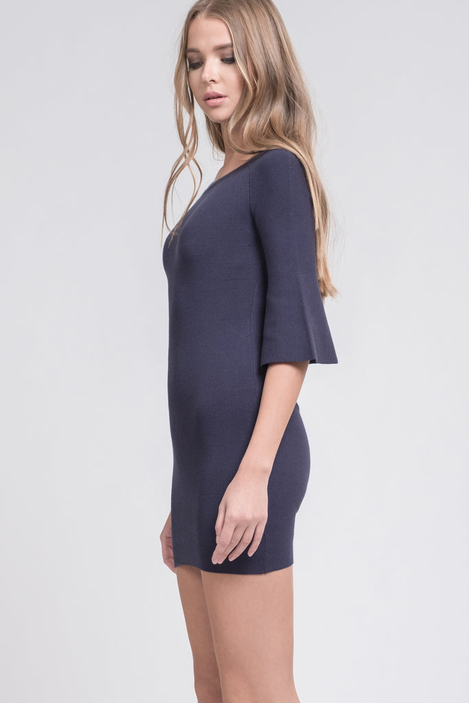 BELL SLEEVE FITTED KNIT DRESS