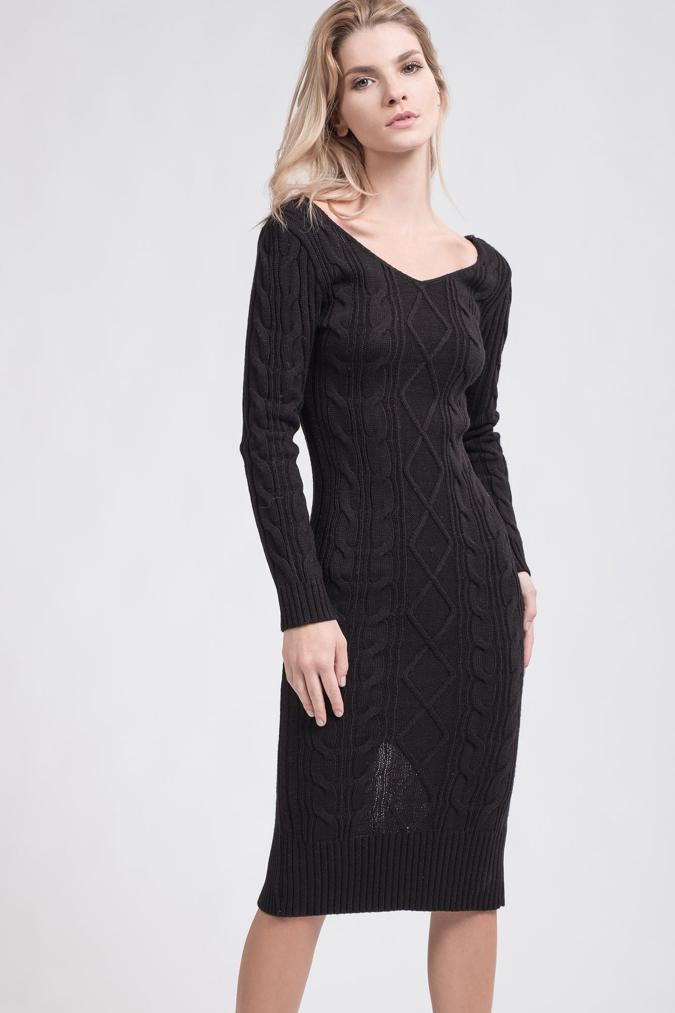 Double V Neck Cable Knit Sweater Dress Joa