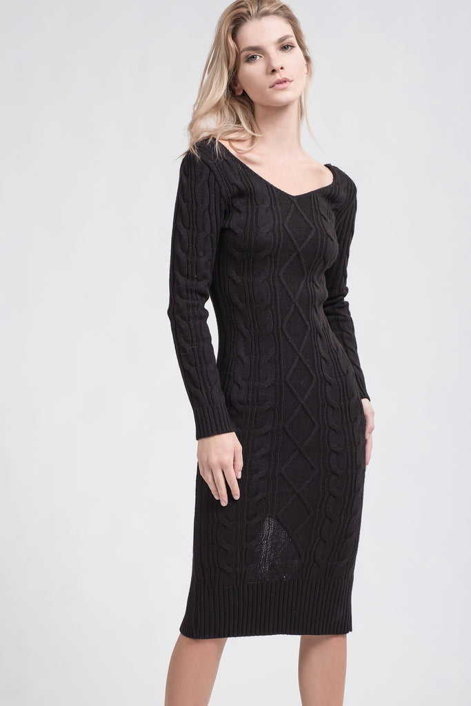 DOUBLE V-NECK CABLE KNIT SWEATER DRESS