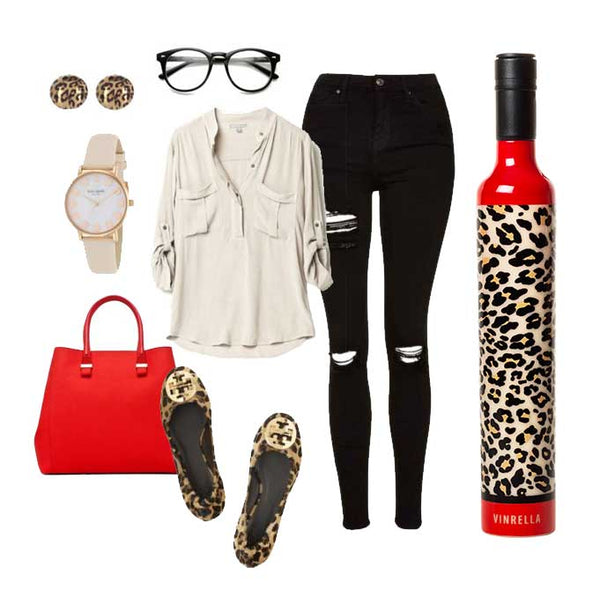 Vinrella Leopard Print Wine Bottle Umbrella Outfit Inspiration