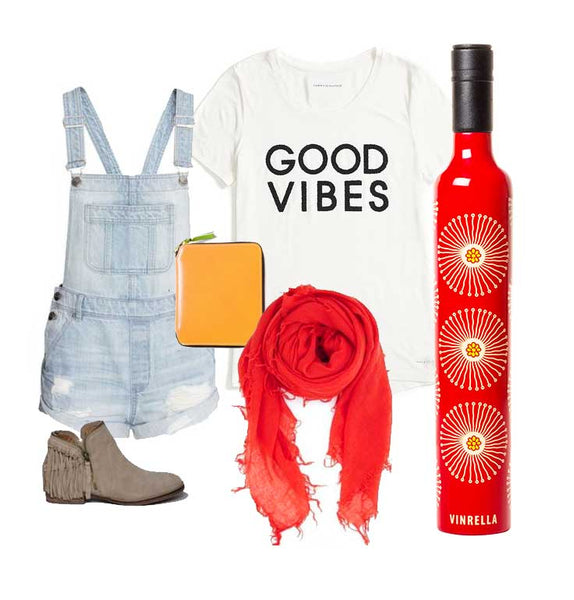 Flora Wine Bottle Umbrella Outfit Inspiration