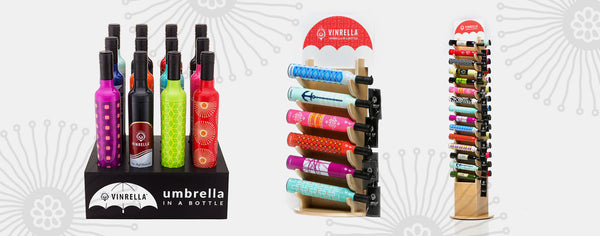 Vinrella Umbrella Retail Display Units for Wine Bottle Umbrellas