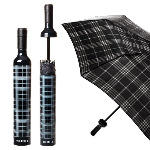 Black Plaid Wine Bottle Umbrella by Vinrella