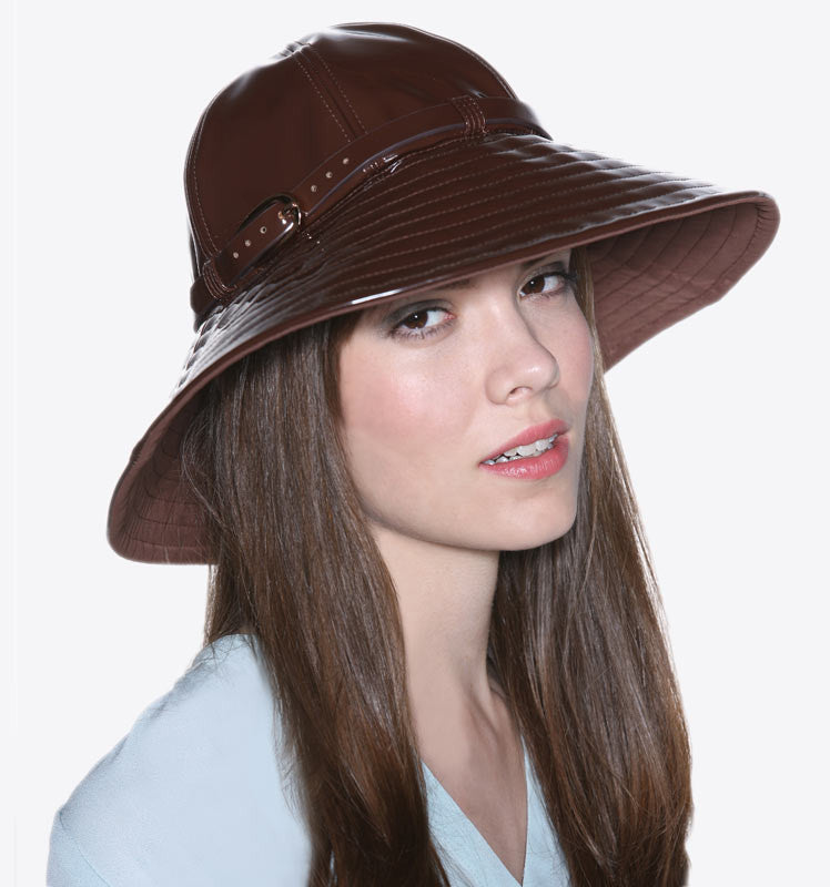 Brown Patent Waterproof Rain Hat / Sun Hat