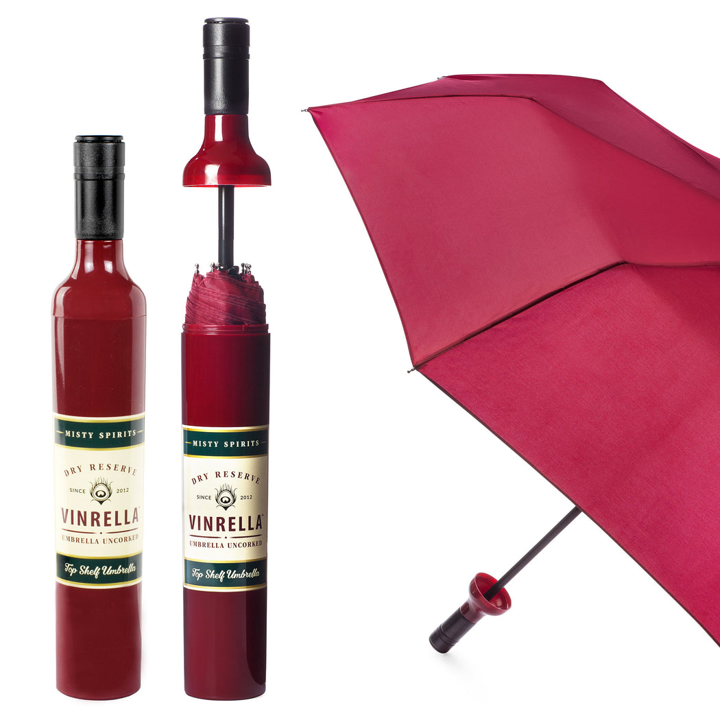 Burgundy Labeled Bottle Umbrella by Vinrella