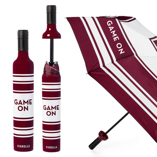 Game On Bottle Umbrella - Maroon/White by Vinrella