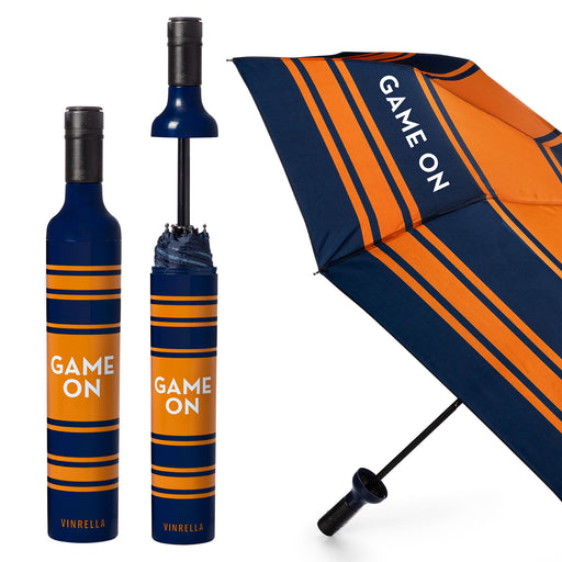 Game On Bottle Umbrella - Navy/Orange by Vinrella