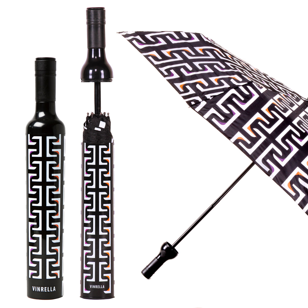 Geometric Black Bottle Umbrella by Vinrella