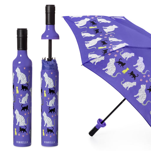 Purrfection Cat Print Bottle Umbrella by Vinrella