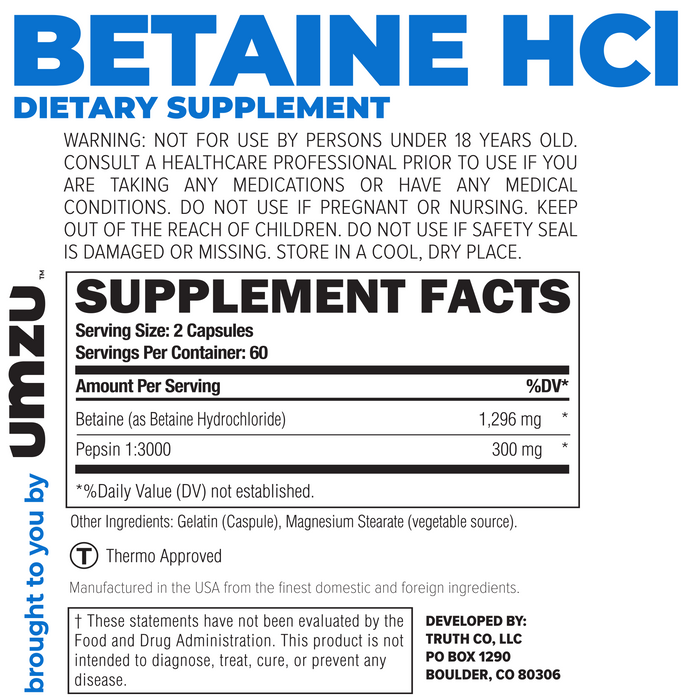 Betaine HCl Ingredients