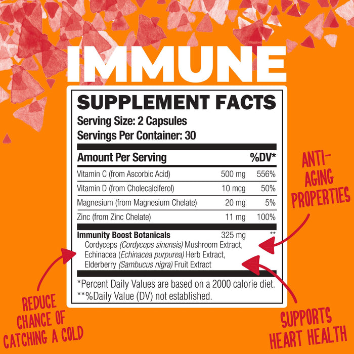 Immune: Boost Immunity with Vitamin C, Elderberry, & Zinc