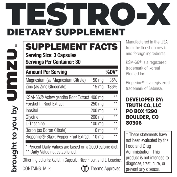 Testro-X Ingredients