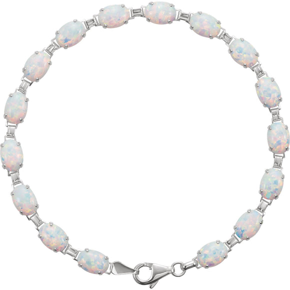 14K White Lab-Grown Opal Line Bracelet from Miles Beamon Jewelry - Miles Beamon Jewelry
