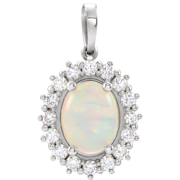 14K White Gold Opal  & 1/3 CTW Diamond Pendant from Miles Beamon Jewelry - Miles Beamon Jewelry