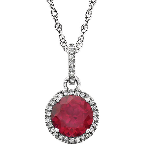 14k White Created Ruby Necklace