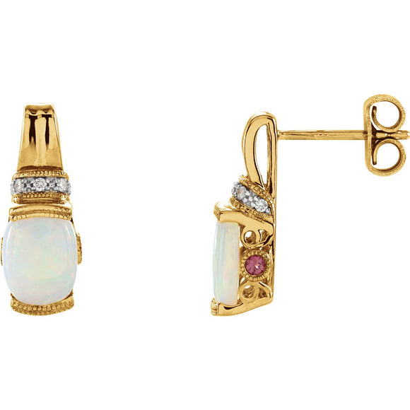 14K Yellow Gold Opal & Pink Tourmaline Earrings